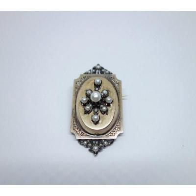 Broche-pendentif En Or Rosé, Perles Fines Et Miniature.