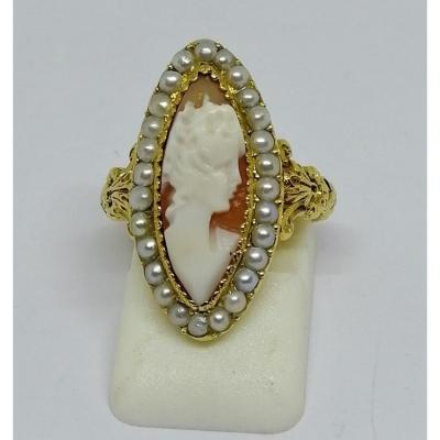 Gold Cameo Ring And Half Fine Pearls.