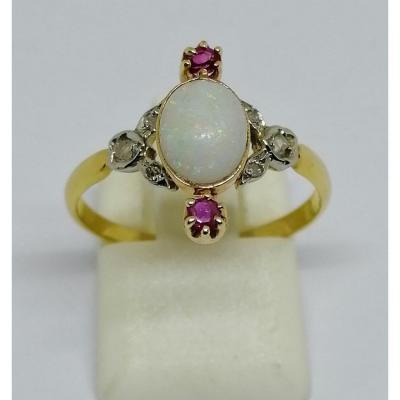 Gold, Opal And Ruby Ring.