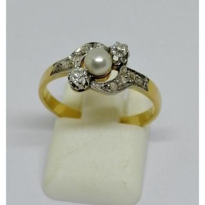 Gold, Diamond And Fine Pearl Ring.