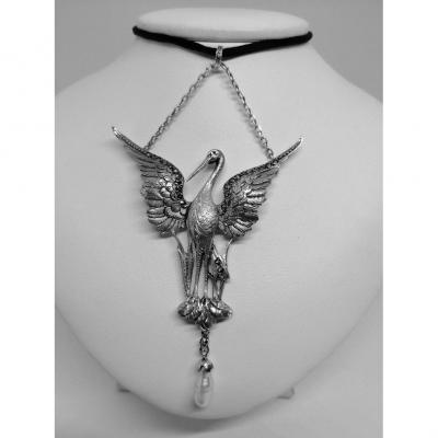 Stork Pendant In Silver, Art Nouveau.