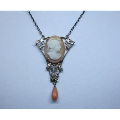 Necklace, Art Nouveau Model With Shell And Coral Cameo.