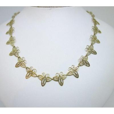 Collier En Or, Motif Papillon.