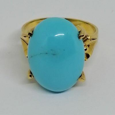 Gold Ring With Big Turquoise.