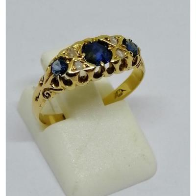 Gold Ring With Sapphires And Diamonds Late 19th Century.