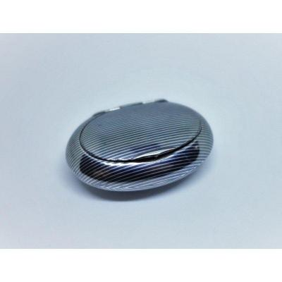 Totally Niellated Silver Pill Box, Swiss Work.