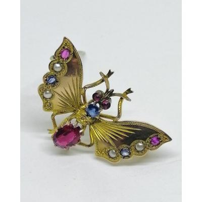 Butterfly Brooch, 8ct Gold Alloy, With Precious Stones, Art Nouveau.