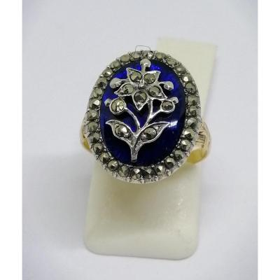 Ring In Gold / Silver, With Guilloché Background, Blue Enamel And Paving Of Marcasites.