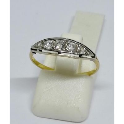 Ring In Yellow And Gray Gold, With Row Of Diamonds.