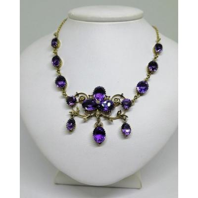 Necklace Silver, Vermeil, With Amethyst Claws Setting And Fine Half-pearls.