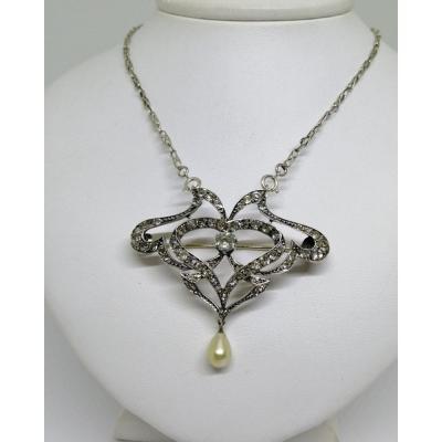 Silver Brooch / Necklace, Typically Art Nouveau Shape, Circa 1900.