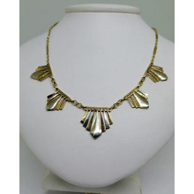 Necklace In Gold Three Colors, Geometric Shapes, Art Deco.