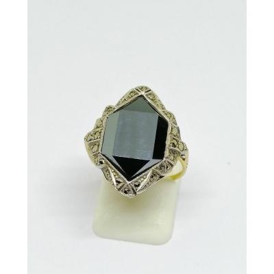 Silver / Gold Ring, With Geometric Hematite, Marcasites, Art Deco.