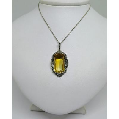 Pendant And Silver Chain, With Citrine And Marcasite Paving, Art Deco.