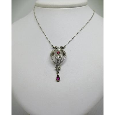 Necklace In Yellow And Gray Gold, With Diamond Roses And Rubies.