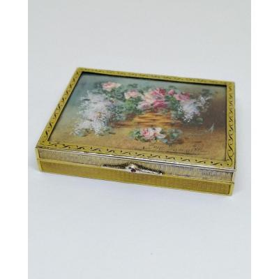 Box For Stamps Or Flies, Sterling Silver And Vermeil, With A Signed Miniature Watercolor.