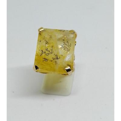 Bague En Or Avec Importante Agate Herborisée Ou Dendritique à Facettes, Peu Courant.