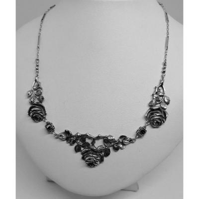 Necklace Sterling Silver, With Motifs Of Roses And Marcasites, Art Nouveau.