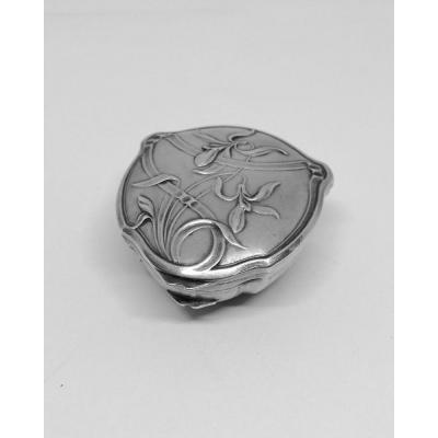 Small Sterling Silver Box, Particular Shape With Orchid Décor.