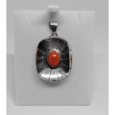 Silver Pendant, Openwork And Closed Setting With A Coral Cabochon.