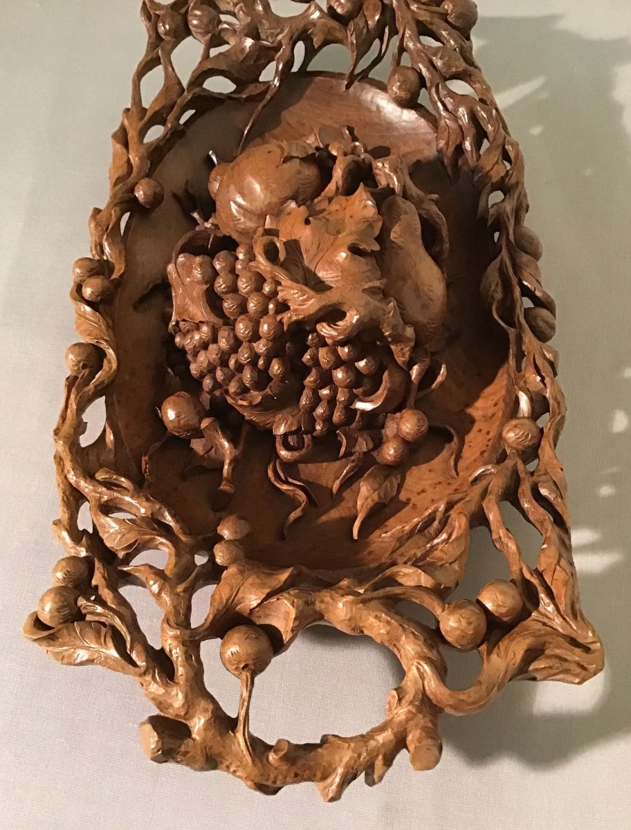Fruit Bowl In Carved Walnut, Mid 20th Century-photo-4