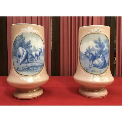 Paire De Vases En Opaline, 19ème
