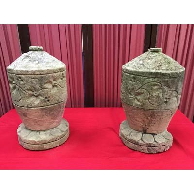 Pair Of Stone Urns, 18th