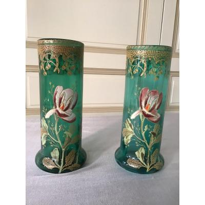 Pair Of Enameled Glass Vases, Art Nouveau Style, In The Taste Of Legras.