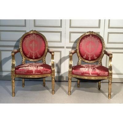 Paire De Fauteuils En Bois Doré Style Louis XVI, Epoque 19ème