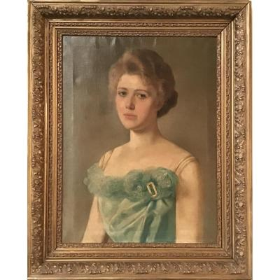 Louise Codecasa Portrait Of A Young Girl Oil On Canvas 1901