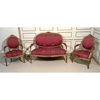 Salon De Style Louis XVI En Bois Doré Epoque Fin 19ème