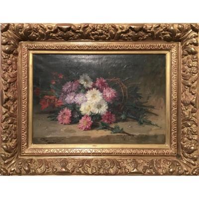 Fouty, Bouquet De Fleurs, Huile Sur Toile, Fin 19ème