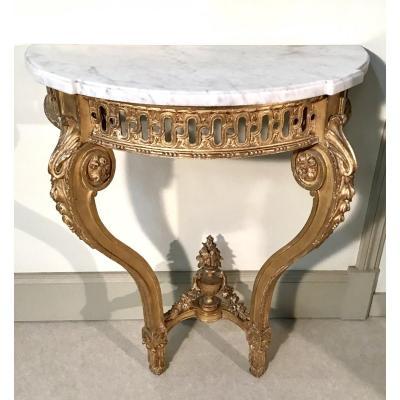 Console En Bois Doré De Style Louis XVI Epoque Fin 19ème