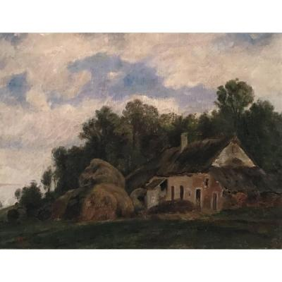 Country Painting, In The Style Of Barbizon, Oil On Canvas, Late 18th