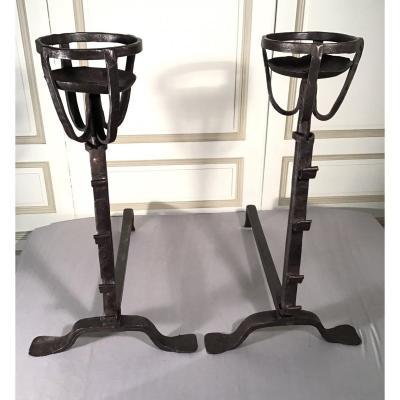 Pair Of Landiers, Iron, Late 18th Century