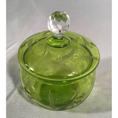 Green Cut Crystal Candy Box, 20th