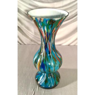 Grand Vase En Opaline De Florence, Circa 1960-1970
