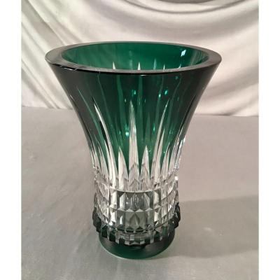 Belgian Cut Green Crystal Vase From Val St Lambert, 20th C.