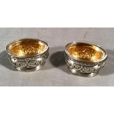 Pair Of Oval Salarons In Silver And Vermeil, 20th
