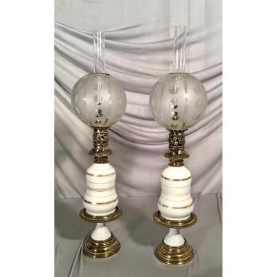 Pair Of Porcelain Oil Lamps, Napoleon III Period