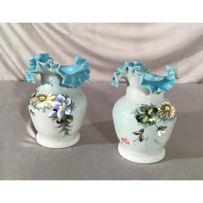 Pair Of Vases In Opaline, 19th