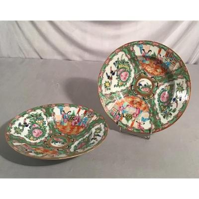 Paire D'assiettes Creuses En Porcelaine, Chine, 19ème