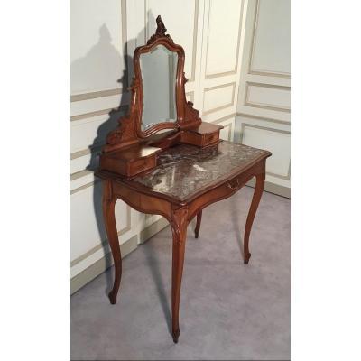 Coiffeuse En Noyer, Style Louis XV, Fin 19ème