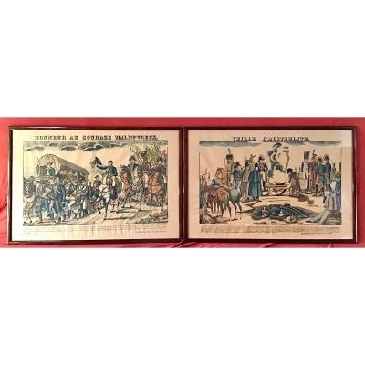 Suite De 2 Gravures Imagerie D'Épinal, Napoléon Austerlitz, Fabrique Pellerin, 19ème