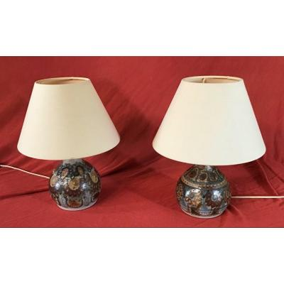 Pair Of Stoneware Lamps Signed