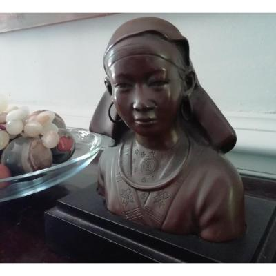 Indochina Art Deco Bronze Bust
