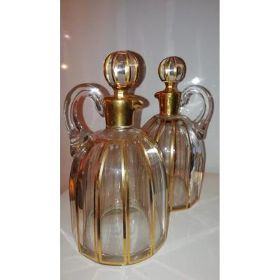 Pair Of 19th Century Crystal Burettes Carafons