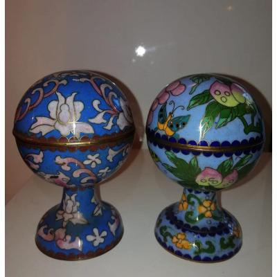 Pair Of Chinese Cloisonne Boxes