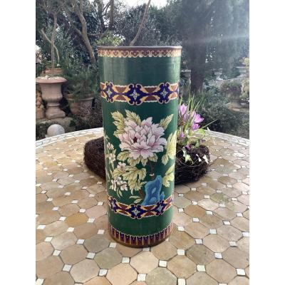 Grand Vase Rouleau Cloisonné Chine 1900
