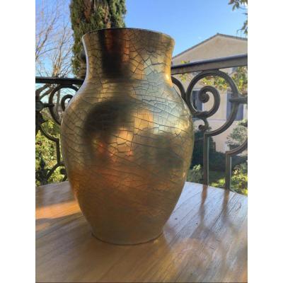 Large Art Deco Vase Jules Ernenwein Alsace Ceramic Gold Leaf
